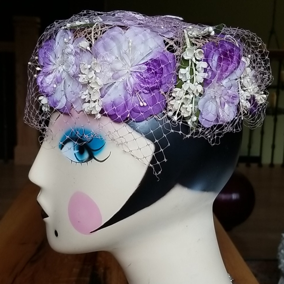 Vintage Lavender Floral Pill Box Hat With Netting